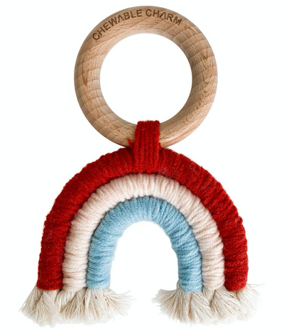 Red, White and Blue Macrame Boho Rainbow Teether with Beechwood Ring and macrame rainbow teether