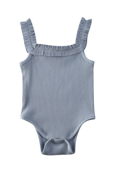 Reese Slate Blue Ruffle Strap Ribbed Sleeveless Bodysuit