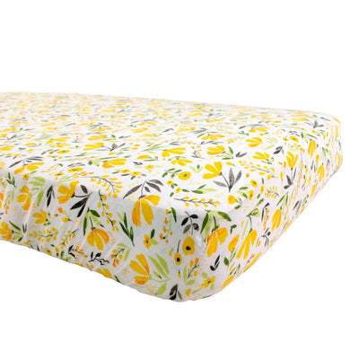 Yellow Floral and Greenery Crib Sheet Bebe Au Lait