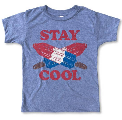Red, White and Blue Tee - Blue graphic tee with Stay Cool printed in red lettering. Finished off with red, white and blue bomb pop popsicle illustrations.