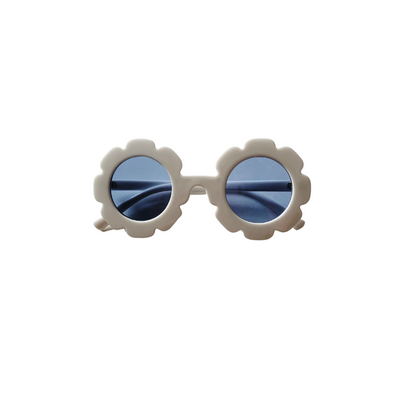 White Flower Sunglasses for Girls and Babies, White with blue lenses