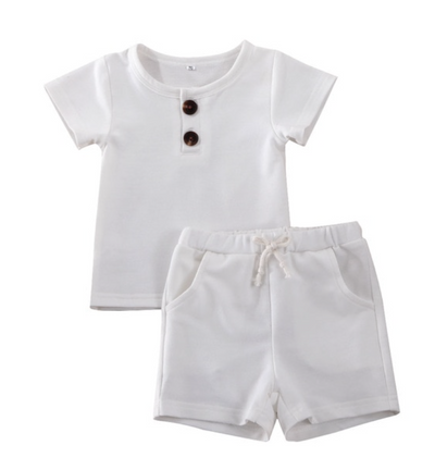 White Shirt and Shorts Set