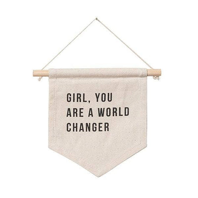 Girls room Decor - Hanging Sign - Natural Canvas - Girl, You are a world changer