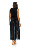 CLEOPATRA SILK BEACH MAXI - BLACK