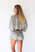 LYRA SILKY SHIRT DRESS - PEWTER