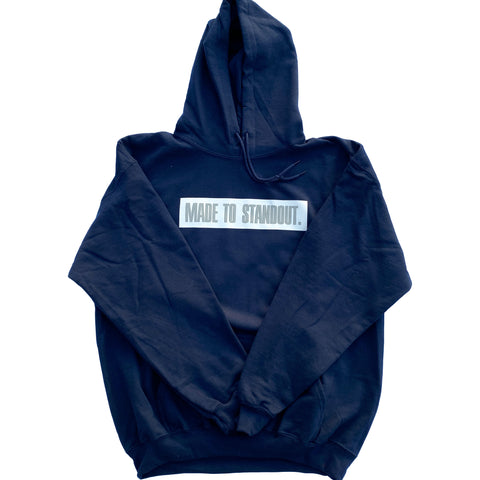 Box Logo Hoodie - Navy Blue/White/Grey