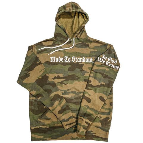 In God We Trust Lightweight Hoodie - Green Camo