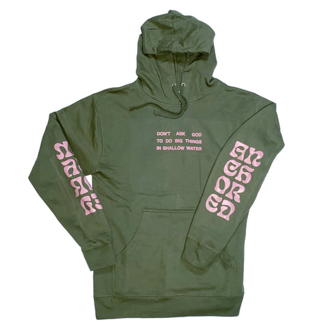 Anchored In Love Hoodie - Green/Pink