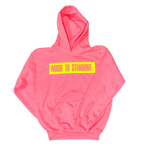 Youth Box Logo Hoodie - Safety Pink/Neon