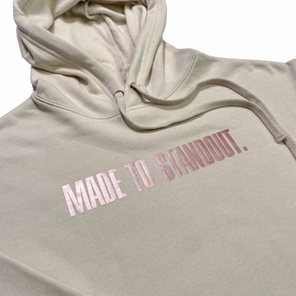 Women's Blush Rose Gold Cropped Hoodie - Heather Dust/Rose Gold