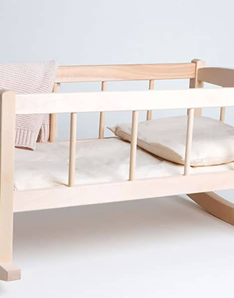 Wood and Rattan Doll Cradle