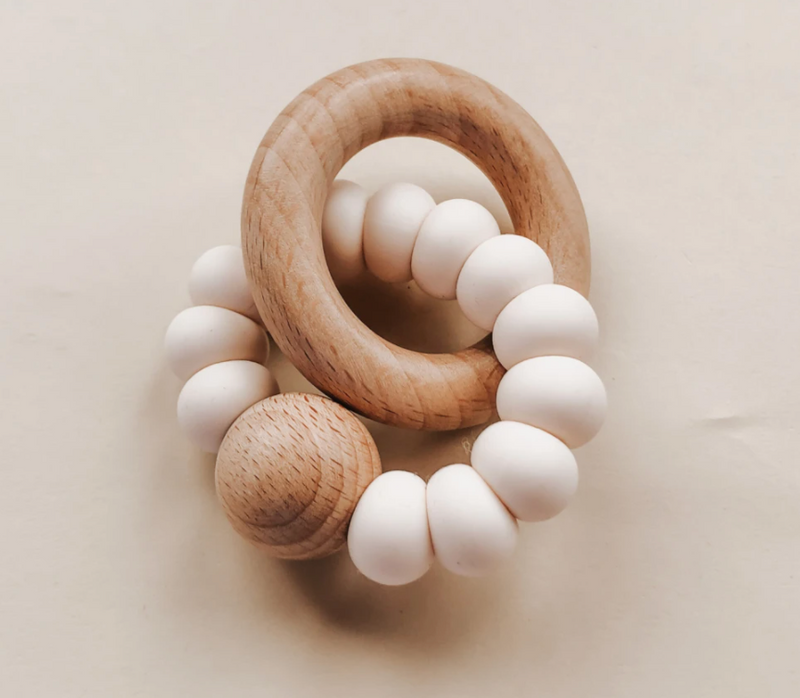 Levi Rattle Teether - Ivory