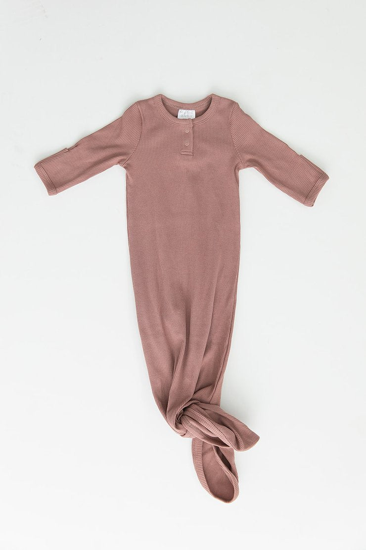 Organic Cotton Ribbed Gown - Dusty Rose - Chicke