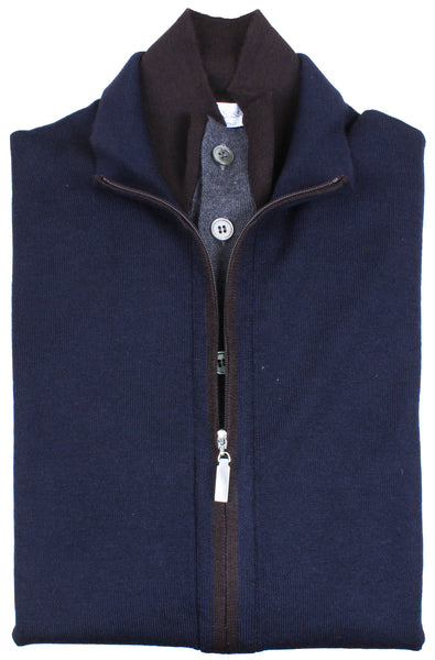 Navy Double Collar Full Zip