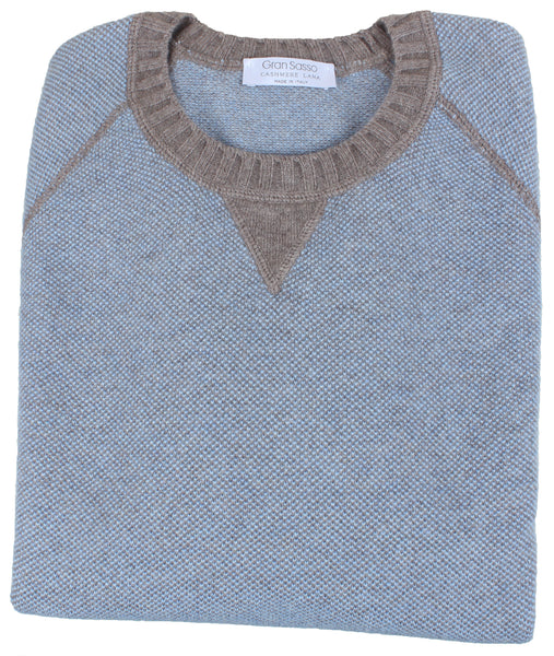 Sky Blue/Brown Birdseye Weave Sweater