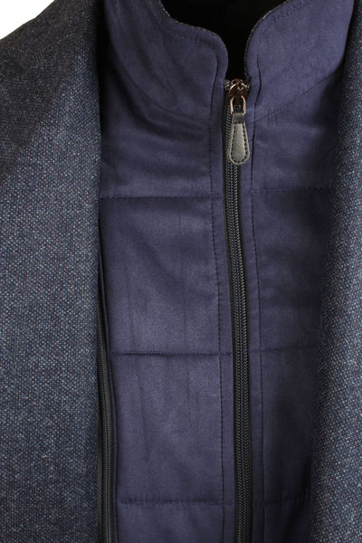 Navy Scooter Jacket With Removable Alcantara Insert