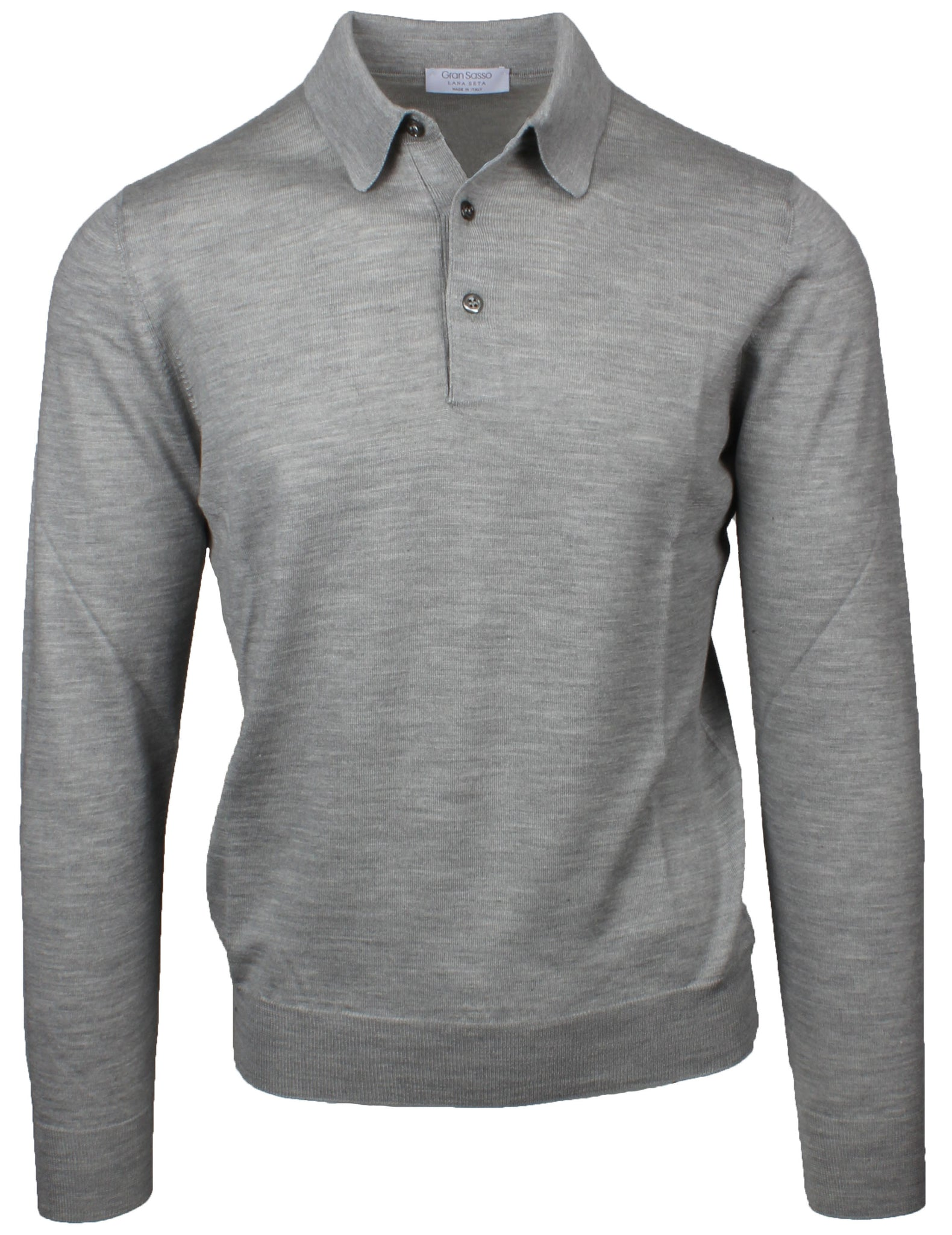 Grey Wool & Silk Knitted Polo
