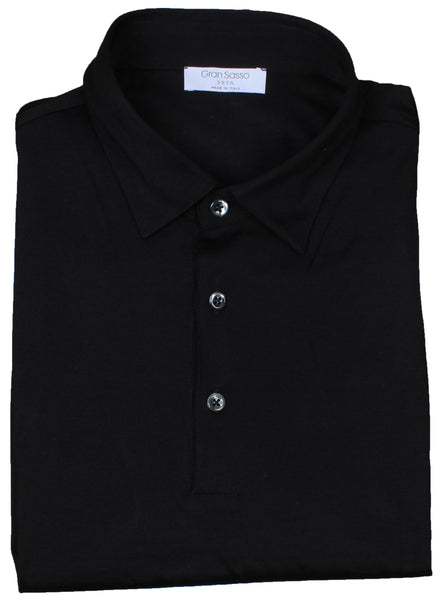 Black Pure Silk Jersey Polo