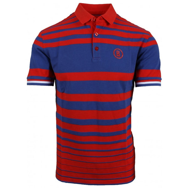 Vico Striped Pique Golf Polo Red