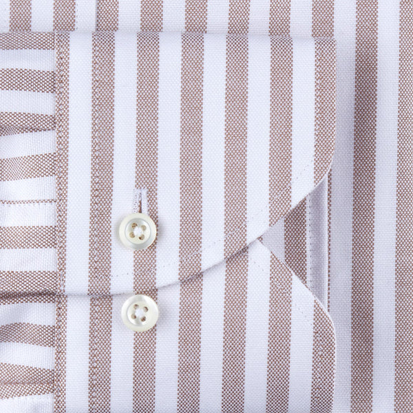 Beige Striped Oxford Shirt Fitted Body