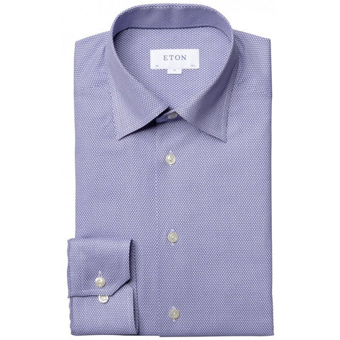 Blue Birdseye Weave Shirt With Button Under Collar