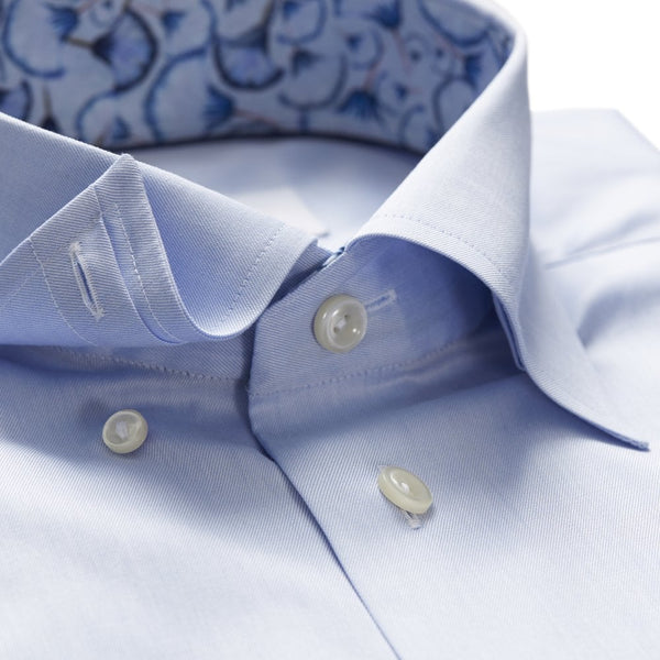 Blue Twill Shirt With Floral Trim And Button Under Collar