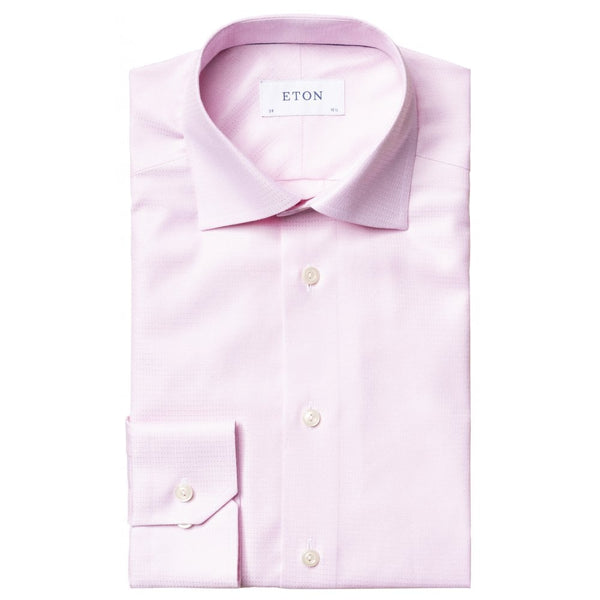 Pink Micro Weave Split Yoke Shirt