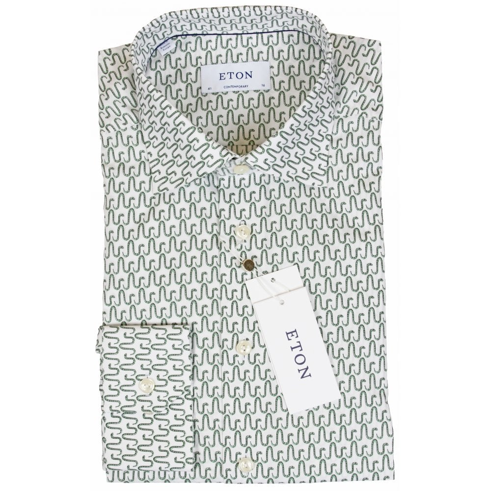 White Poplin Shirt With Egyptian Snake Print