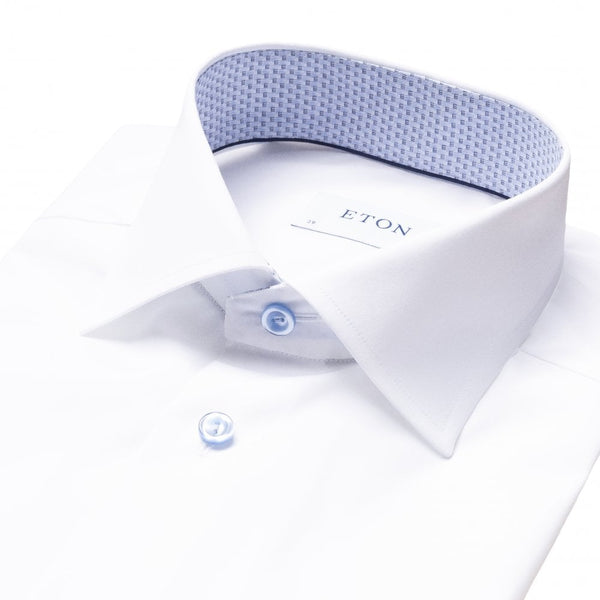 White Poplin Shirt With Trim And Contrasting Buttons