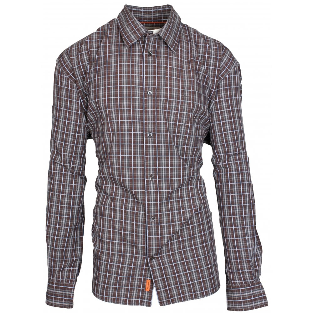 Faconnable Brown Shirt With Blue-Grey Check