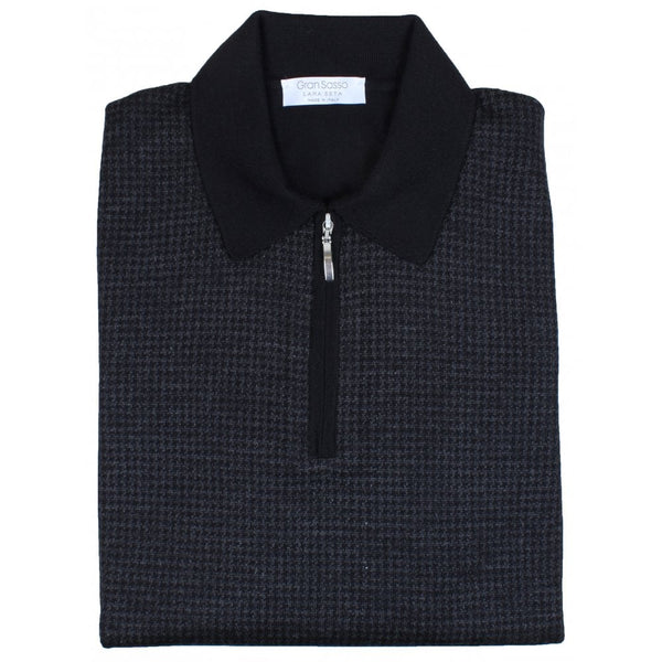 Black Houndstooth Wool-Silk Zip Polo