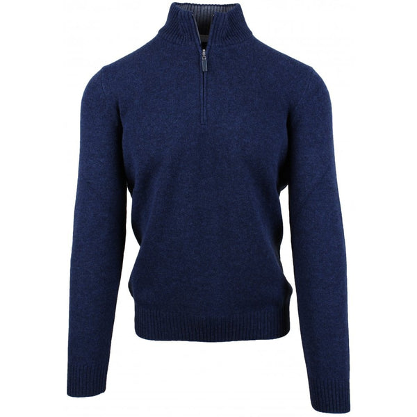 Blue Cashmere Blend 1-4 Zip Jumper