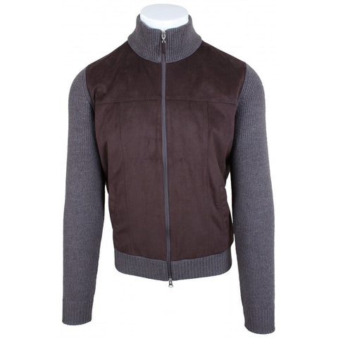Brown Wool Alcantara Bomber