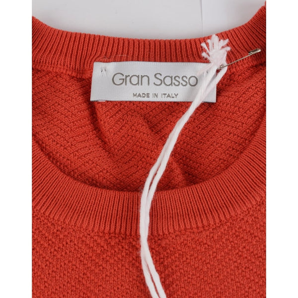 Burnt Orange Woven Crew Neck