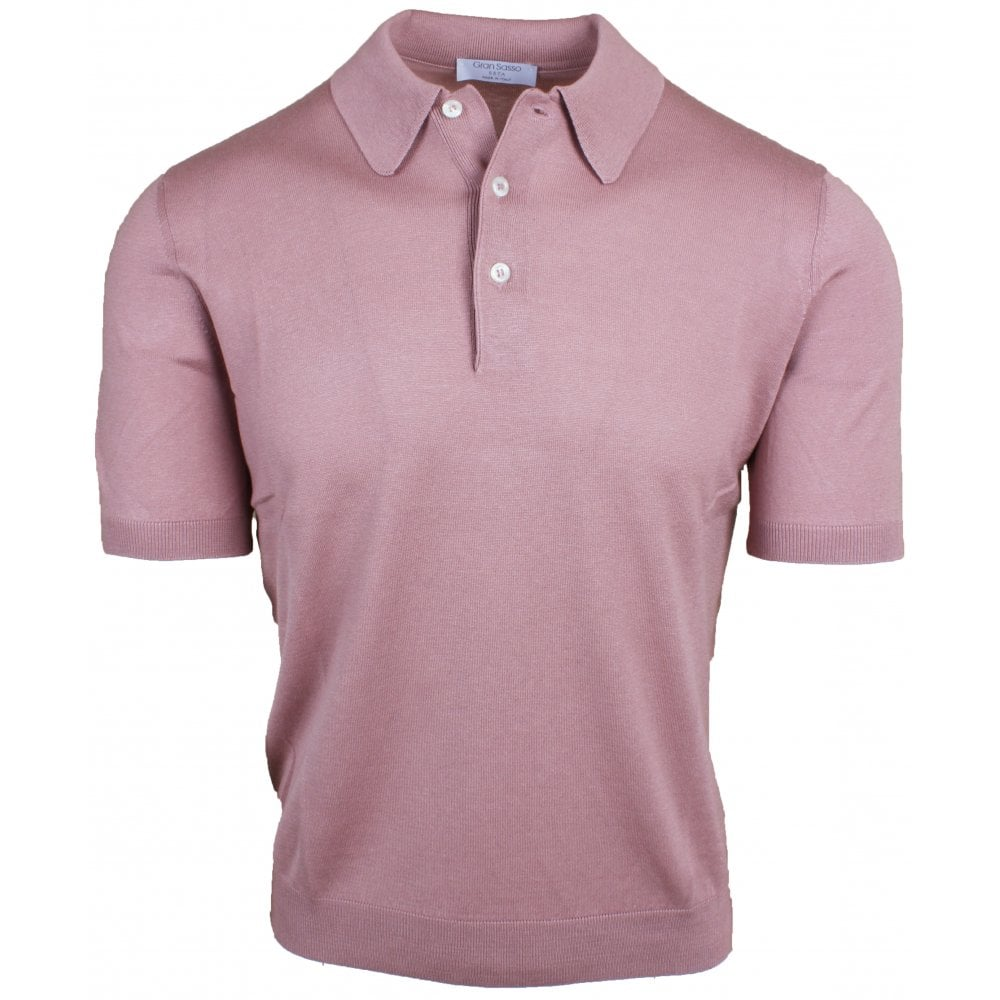 Dusty Pink Silk Knitted Polo