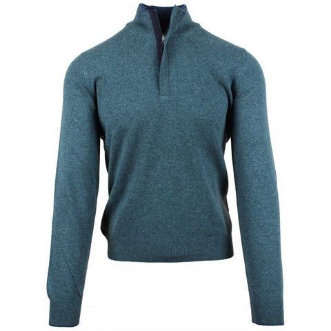 Green 1-4 Zip Cashmere Blend Jumper