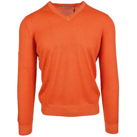 Merino V Neck Orange