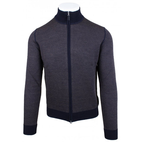 Navy Birdseye Weave Full Zip