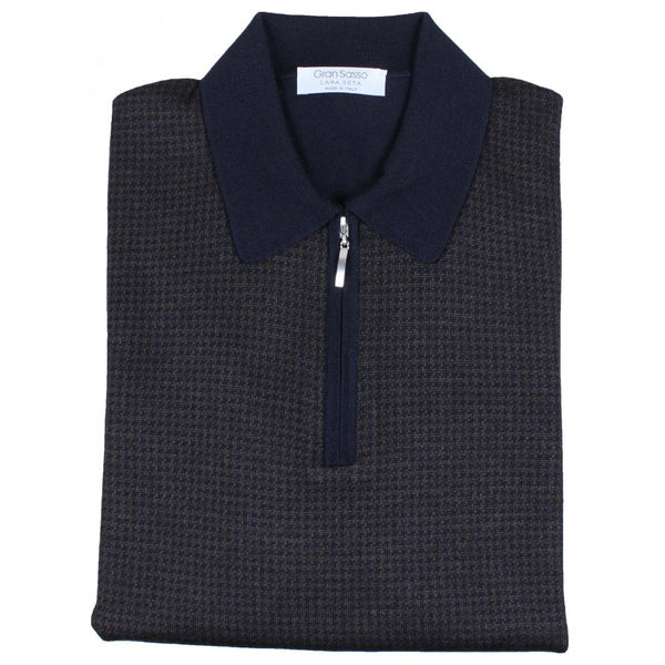 Navy Houndstooth Wool-Silk Zip Polo