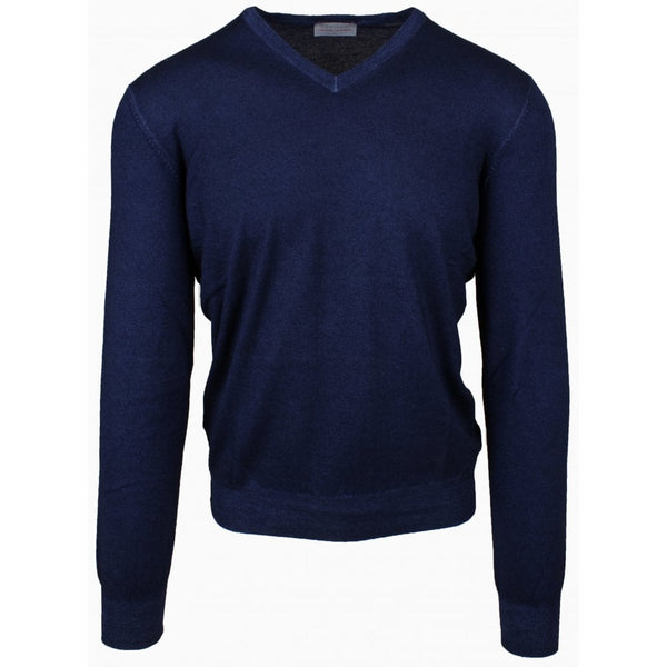 Navy Vintage Yarn Cashmere V Neck