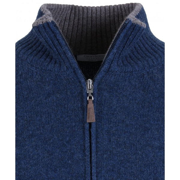 Gran Sasso Teal Cashmere Full Zip Jumper With Alcantara Elbow Patches