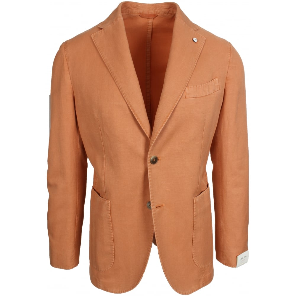 L.B.M. 1911 Unlined Orange Herringbone Linen Blend Jacket