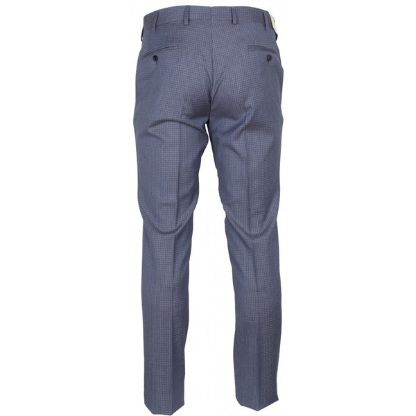 Guabello Blue Tight Grid Check Pleated Trouser