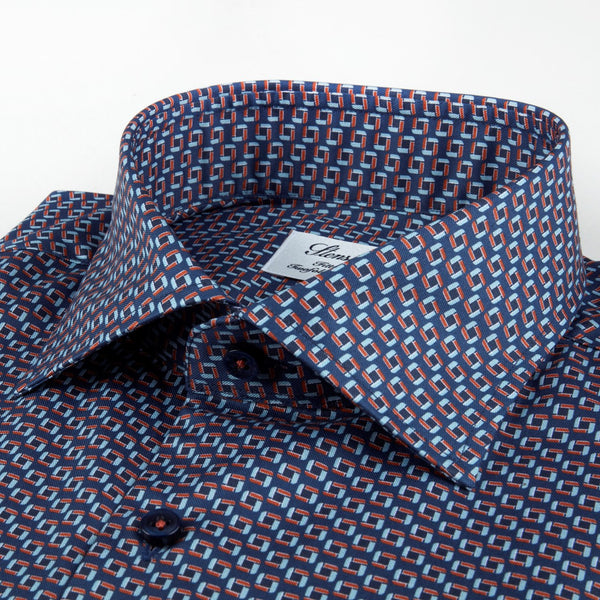Micro Print Fitted Body Shirt