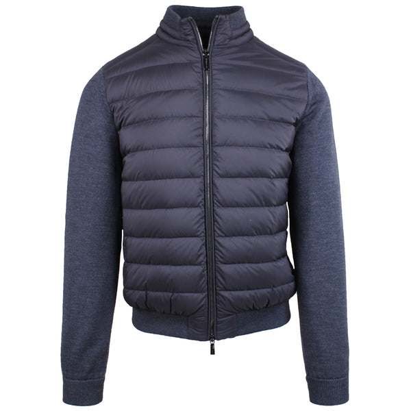 Mondini Grey Bomber Jacket With Knitted Sleeves