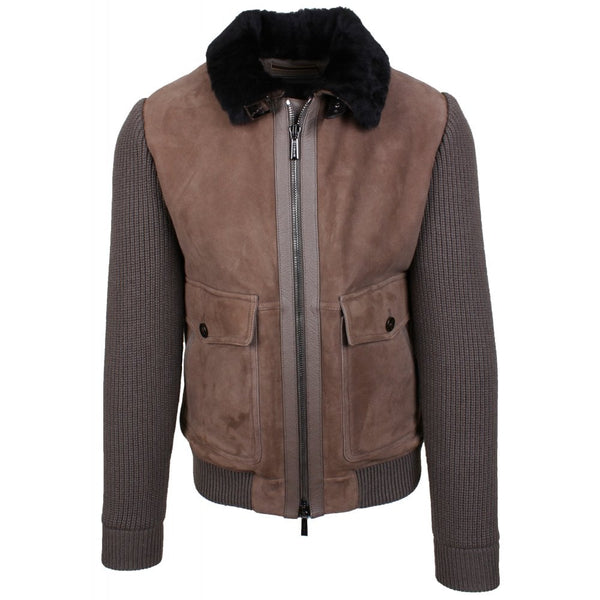Beige Fur Lined Bomber With Suede Front And Down Filled Boudin Back