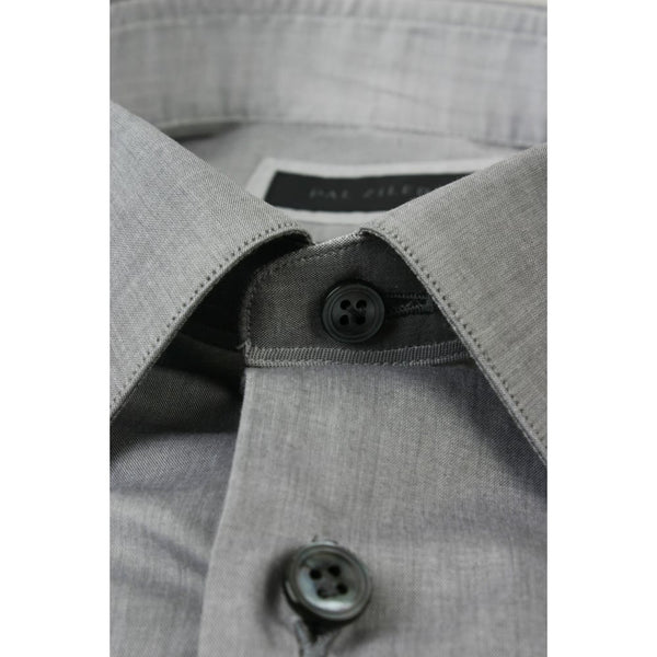 Grey Shirt With Micro Dot Trim