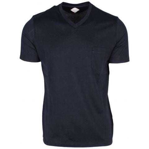 Navy V Neck T Shirt With Patch Pocket