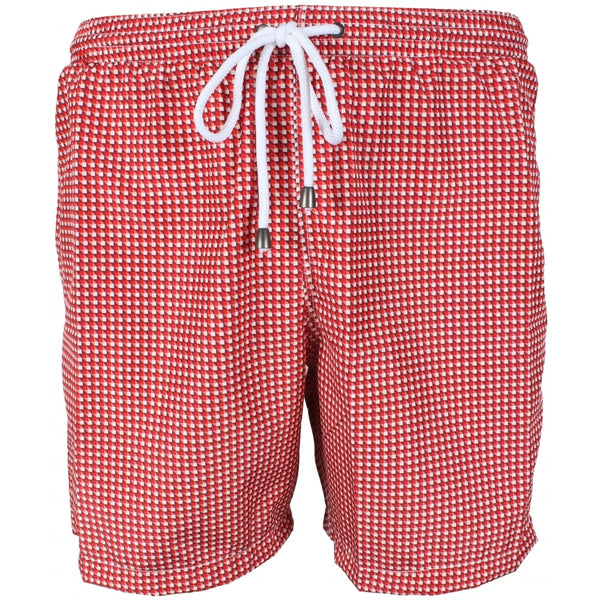 Red Optical Gingham Check Swim Shorts