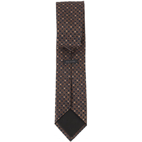 Subtle Navy And Gold Squares Tie